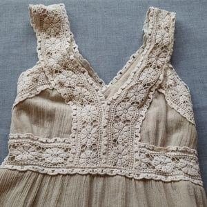 NICK & MO💟Crochet Floral Lace Boho Midi Dress
